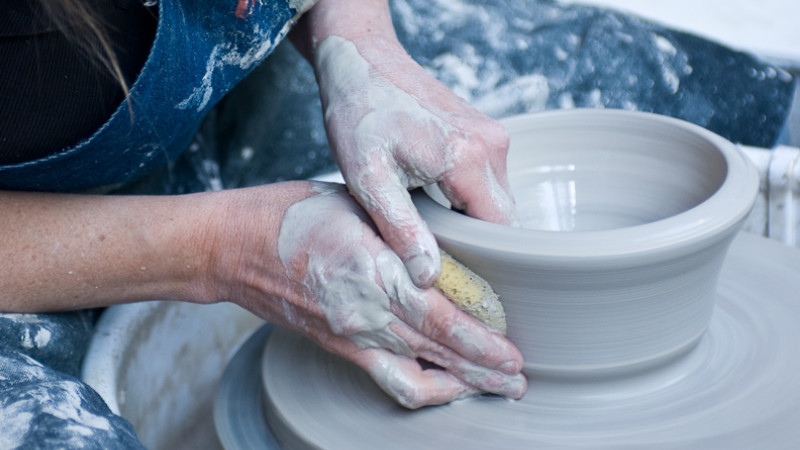 Sheryl's Hands Throwing a Bowl